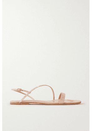 Gianvito Rossi - Crystal-embellished Iridescent Suede Sandals - Baby pink