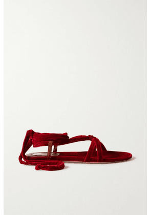 Gabriela Hearst - Reeves Velvet And Leather Sandals - Red