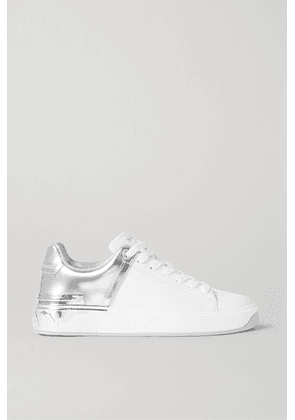 Balmain - B-court Matte And Metallic Leather Sneakers - White