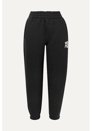 alexanderwang.t - Printed Cotton-blend Fleece Track Pants - Black