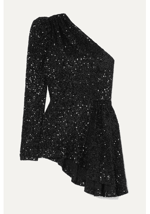 Rebecca Vallance - Mica One-sleeve Asymmetric Sequined Lurex Top - Black