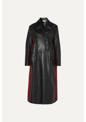 Alexander McQueen - Double-breasted Leather And Houndstooth Wool Coat - Black