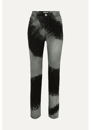 Matthew Adams Dolan - Tie-dyed High-rise Straight-leg Jeans - Black