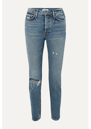 GRLFRND - Karolina Distressed High-rise Slim-leg Jeans - Mid denim