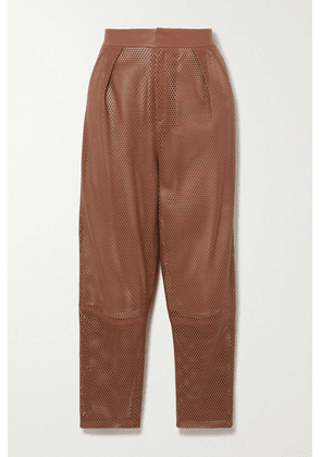 Zeynep Arcay - Perforated Leather Tapered Pants - Tan