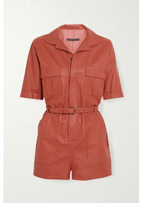 Zeynep Arcay - Belted Leather Playsuit - Peach