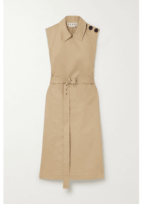 Marni - Belted Cotton And Linen-blend Drill Dress - Beige