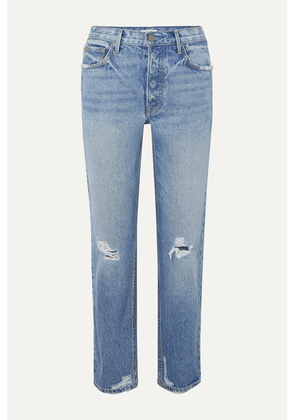 GRLFRND - Helena Distressed Mid-rise Straight-leg Jeans - Light denim