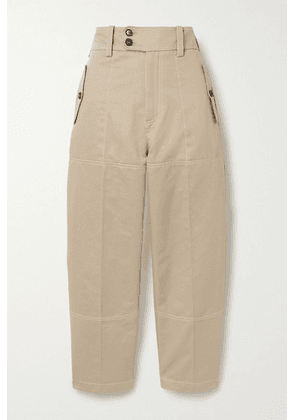 Marni - Cropped Cotton And Linen-blend Drill Straight-leg Pants - Beige