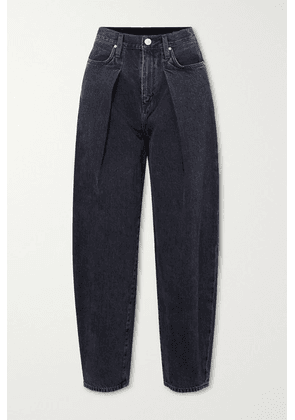 Goldsign - The Pleat Curve Cropped High-rise Tapered Jeans - Dark gray