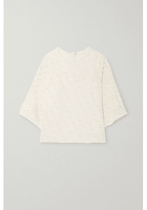 See By Chloé - Lace-trimmed Pintucked Printed Fil Coupé Georgette Blouse - Ecru