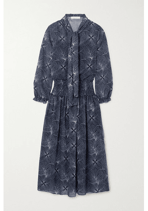 See By Chloé - Pussy-bow Smocked Floral-print Georgette Midi Dress - Blue