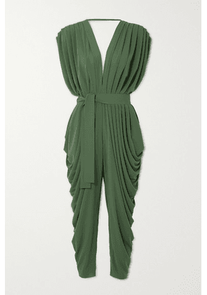 Norma Kamali - Belted Draped Stretch-jersey Jumpsuit - Green