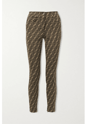 Fendi - Stretch-jacquard Skinny Pants - Brown
