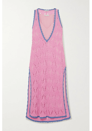 JW Anderson - Layered Two-tone Crocheted Cotton And Crepe De Chine Maxi Dress - Pink
