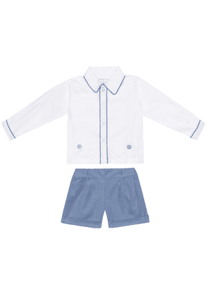 Baby cotton shirt and shorts set