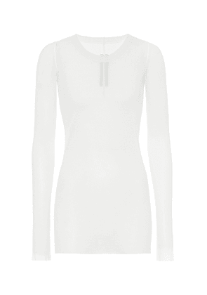 Ribbed-knit silk-blend top