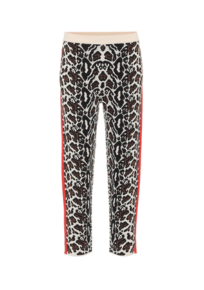 Cropped intarsia knit trackpants