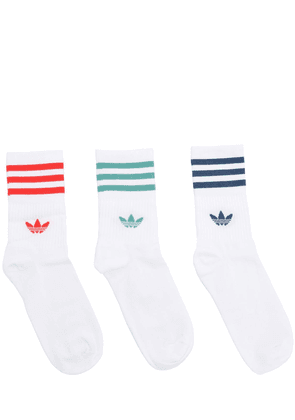 3 Pack Of Mid Cut Solid Crew Socks