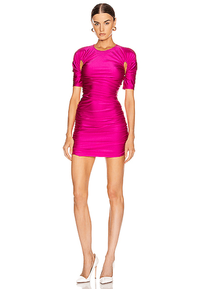 Mugler Cutout Ruched Mini Dress in Hot Pink - Pink. Size 34 (also in ).