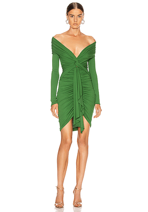Alexandre Vauthier Ruched Tie Mini Dress in Moss - Green. Size 36 (also in 42).