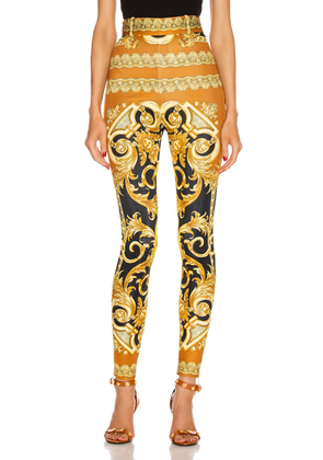 VERSACE Baroque Legging in Black & Yellow - Brown,Paisley,Yellow. Size 36 (also in ).