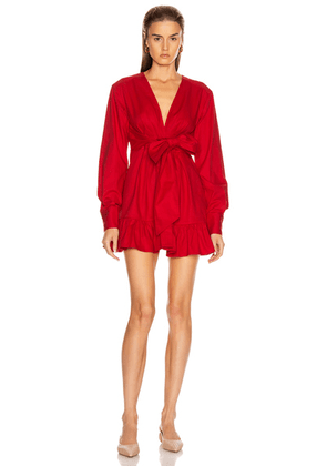 Marissa Webb Janelle Lightweight Canvas Dress in Rouge - Red. Size L (also in M,S,XS).