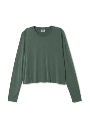 Cropped Long Sleeve T-Shirt - Green