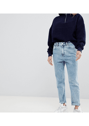 ASOS DESIGN Petite Farleigh high waisted slim mom jeans in 80's acid wash-Blue