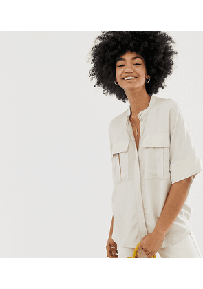 Weekday oversized short sleeve blouse with pockets in beige