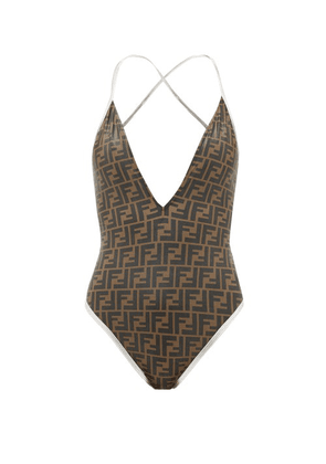 Fendi - Ff-logo V-neck Swimsuit - Womens - Brown Print