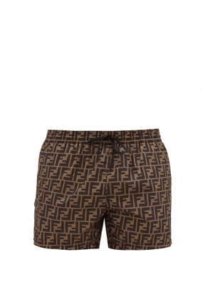 Fendi - Ff-printed Swim Shorts - Mens - Brown Multi