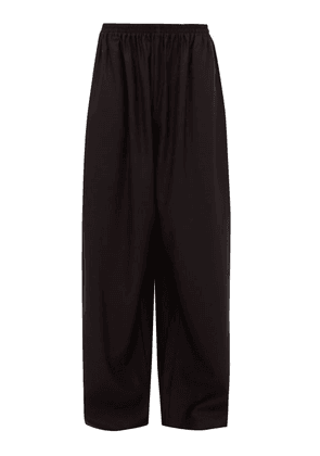 Eskandar - Elasticated Wool-blend Jacquard Wide-leg Trousers - Womens - Black
