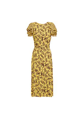 Kate Spade New York Mainline Matches Ruffle-trimmed Printed Crepe Midi Dress Woman Yellow Size 0