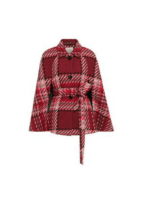 Kate Spade New York Belted Checked Wool-blend Cape Woman Claret Size S