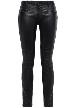 Stand Studio Sign Jersey-paneled Leather Skinny Pants Woman Black Size 36