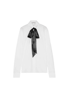 Alexandre Vauthier Pussy-bow Crystal-embellished Cotton-poplin Shirt Woman White Size 38