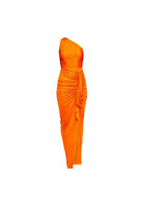 Alexandre Vauthier One-shoulder Ruched Ruffle-trimmed Stretch-jersey Gown Woman Bright orange Size 34