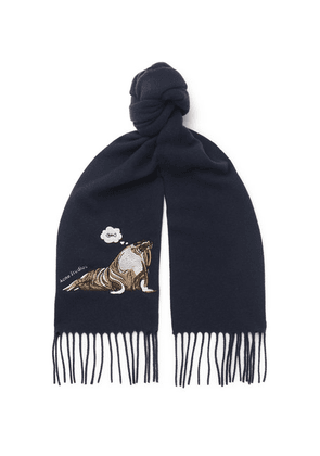 Acne Studios - Fringed Embroidered Brushed-wool Scarf - Navy
