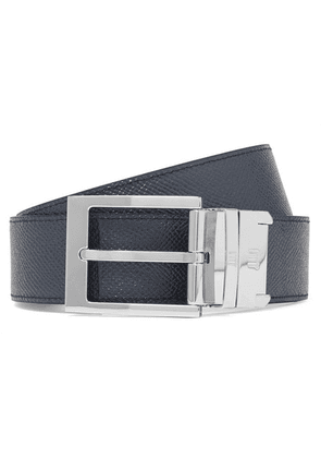 Dunhill - 3.5cm Black And Navy Reversible Pebble-grain Leather Belt - Navy