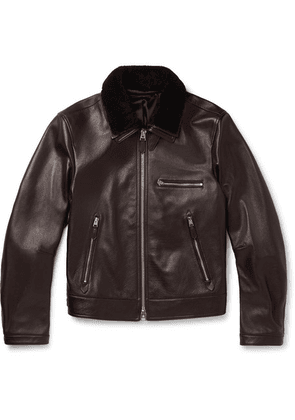 TOM FORD - Slim-fit Shearling-trimmed Full-grain Leather Jacket - Brown