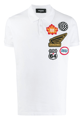 Dsquared2 logo patch polo shirt - White