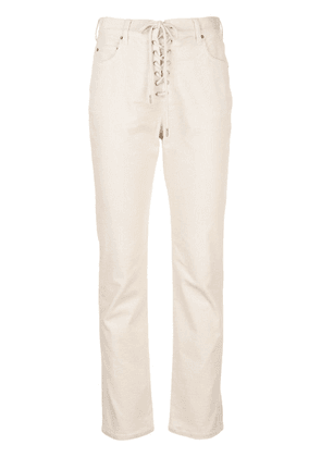Callipygian lace-up corduroy trousers - White