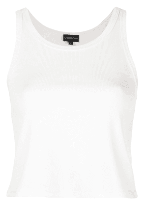 Callipygian cropped ribbed tank top - White