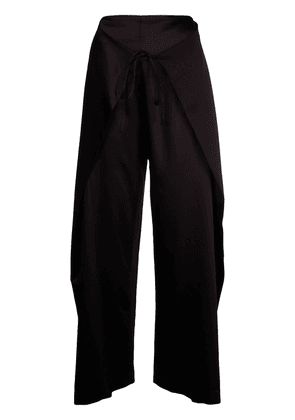 FUNG LAN AND CO. wrap-style tie trousers - Black