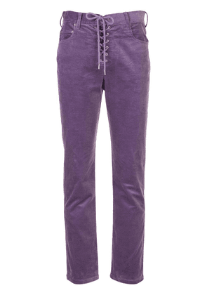 Callipygian lace-up corduroy trousers - PURPLE
