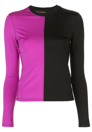 Callipygian panelled two-tone top - PURPLE