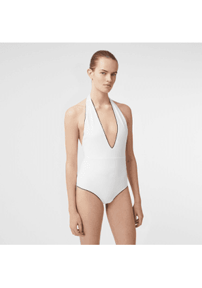 Burberry Piping Detail Halterneck Swimsuit, White