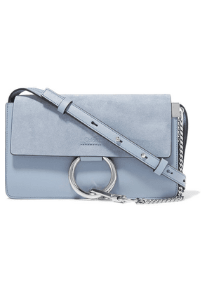 Chloé - Faye Small Leather And Suede Shoulder Bag - Light blue