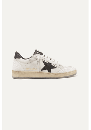 Golden Goose - Ball Star Glittered Distressed Leather Sneakers - White